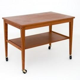 Mobilny tekowy stolik, lata 60
