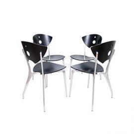 Skulpturalne krzesła sklejka + aluminium