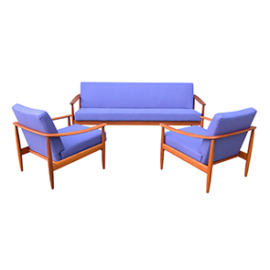 Tekowa sofa z funkcją spania + fotele, lata 60